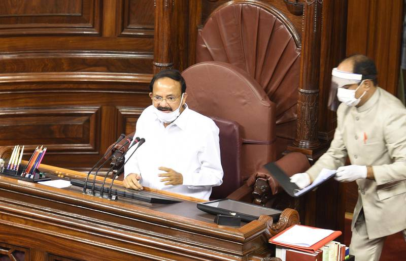NEW DELHI, INDIA - JULY 22: Vice President and Rajya Sabha Chairman M Venkaiah Naidu during administration of oath to the newly elected members at the Parliament House on July 22, 2020 in New Delhi, India. Forty-five of the 61 newly elected members took oath on Wednesday, and for the first time, the ceremony was held inside Rajya Sabha hall when the Parliament is not in session.  (Photo by Arvind Yadav/Hindustan Times via Getty Images)