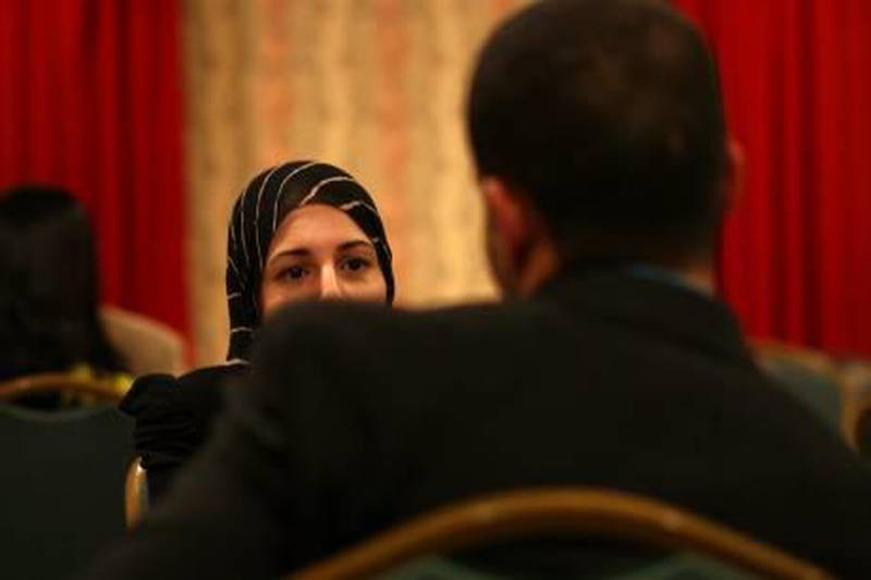 People attend a Muslim speed-dating event at the Adria Hotel in Queens, New York on Sunday, October 17, 2010.  Credit: Yana Paskova  Assignment ID: 10103025A