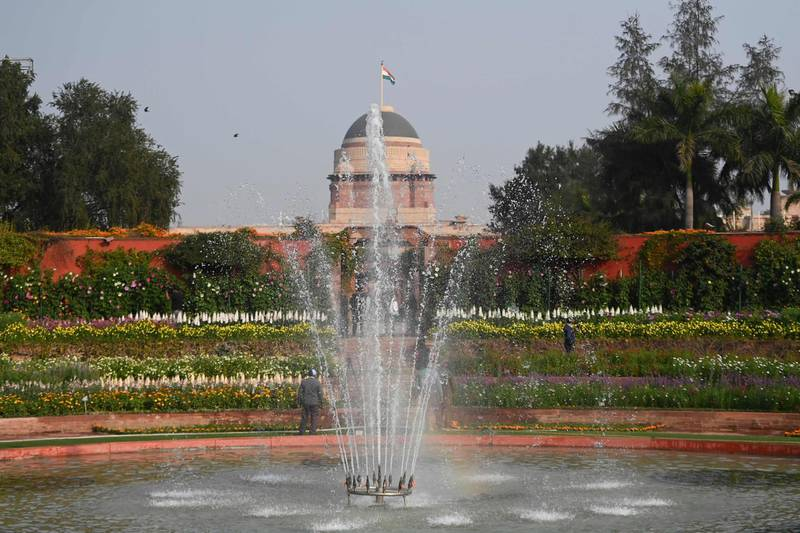 A general view of the Mughal Gardens at the Indian Presidential Palace in New Delhi on February 11, 2021. / AFP / Money SHARMA