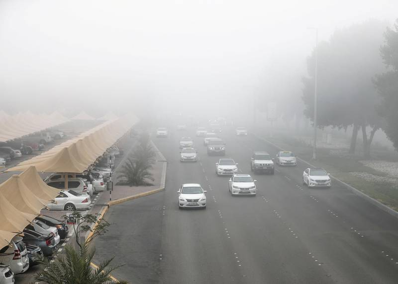 Abu Dhabi, U.A.E., January 7, 2018.  Early morning fog on Muroor Road.Victor Besa / The NationalNational