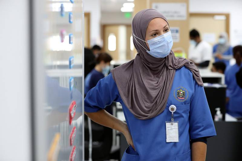 Senior nurse Jessica Rappu during a visit to the SEHA field hospital for Covid-19 patients in Ajman on April 25th, 2021. Chris Whiteoak / The National.  Reporter: Kelly Clarke for News