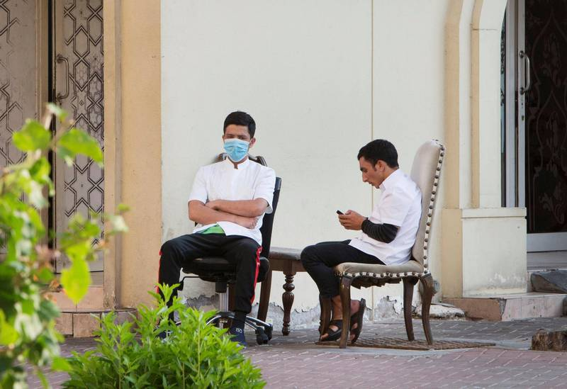 Dubai, United Arab Emirates - People wearing mask in Dubai.  Leslie Pableo for The National