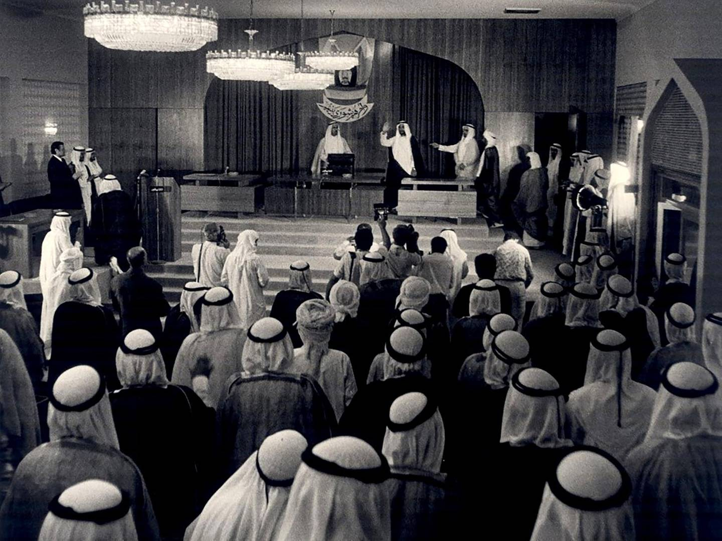 The late Sheikh Zayed Bin Sultan attending the first session of the National Consultative Council in Abu Dhabi, October 3, 1971. Photo: Al Ittihad