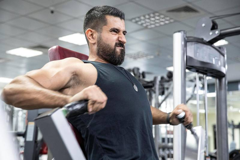 ABU DHABI, UNITED ARAB EMIRATES. 15 SEPTEMBER 2020. Ahmad Zahalqa, a Covid-19 survivor training at his gym. He still suffers shortness of breath when doing any form of intensive exercise. (Photo: Antonie Robertson/The National) Journalist: Haneen Dajani. Section: National.
