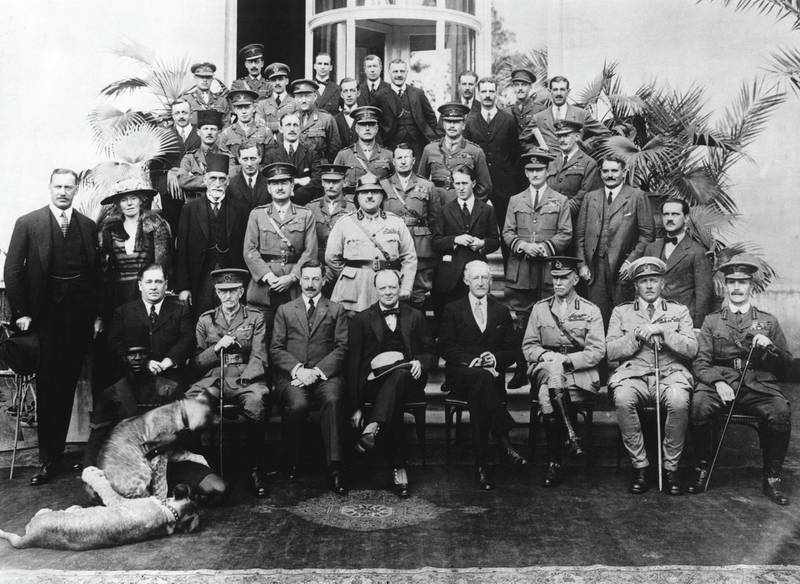 The delegates of the Mespot Commission at the Cairo Conference. The group was set up by Colonial Secretary Winston Churchill to discuss the future of Arab nations. (Photo by © Hulton-Deutsch Collection/CORBIS/Corbis via Getty Images)