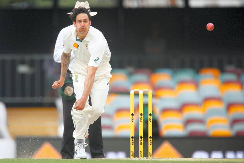 Australian bowler Mitchell Johnson, during the first cricket test match between Australia and New Zealand in Brisbane November 8, 2015. REUTERS/Patrick Hamilton