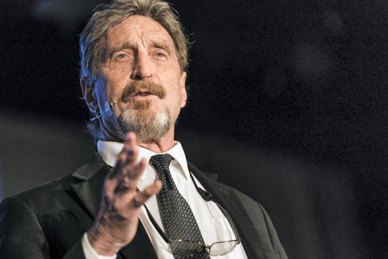 John McAfee, founder of McAfee Associates Inc. and chief cybersecurity visionary at MGTCapital Investments Inc., speaks at the Shape the Future: Blockchain Global Summit in Hong Kong, China, on Wednesday, Sept. 20, 2017. Bitcoin captivated the attention of financial markets this summer as the developer community embraced a new mechanism to improve usage and avoided what was labeled as a potential civil war, raising the profile of the digital ledger and fueling the speculative price rise. Photographer: Anthony Kwan/Bloomberg