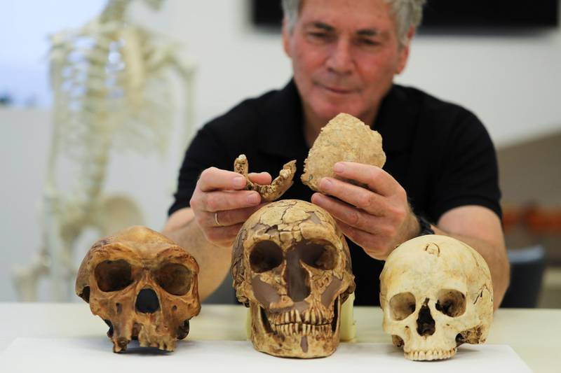 Tel Aviv University Professor Israel Hershkovitz, holds what scientists say are two pieces of fossilised bone of a previously unknown kind of early human discovered at the Nesher Ramla site in central Israel, during an interview with Reuters at The Steinhardt Museum of Natural History in Tel Aviv, Israel June 23, 2021. Picture taken June 23, 2021. REUTERS/Ammar Awad