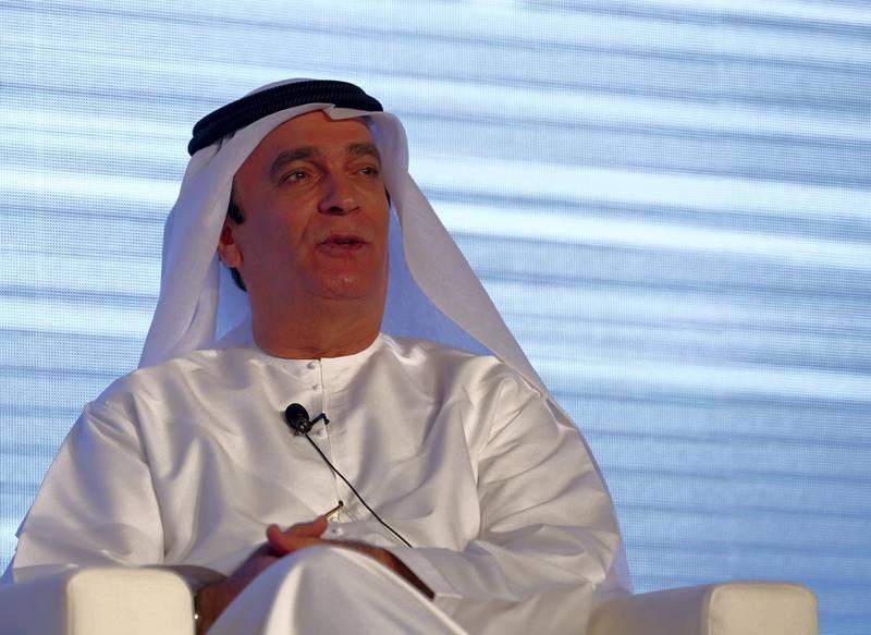 Dubai, United Arab Emirates - October 30th, 2017: Dr Ahmed Al Banna (UAE ambassador to India) speaks on a panel at the India-UAE Partnership Summit 2017. Monday, October 30th, 2017 at The Armani Hotel, Dubai. Chris Whiteoak / The National