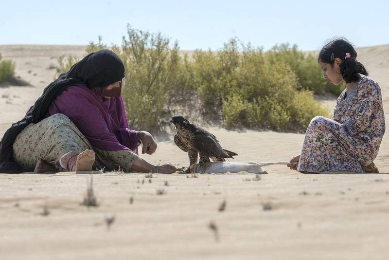 Falcon hunts the desert rabbit , Osha assist her aunt Afrah Al Mansoori during the hunting trip, falconry is not just hunting which creates relationship stronger at Abu Dhabi,UAE Vidhyaa Chandramohan for The National.