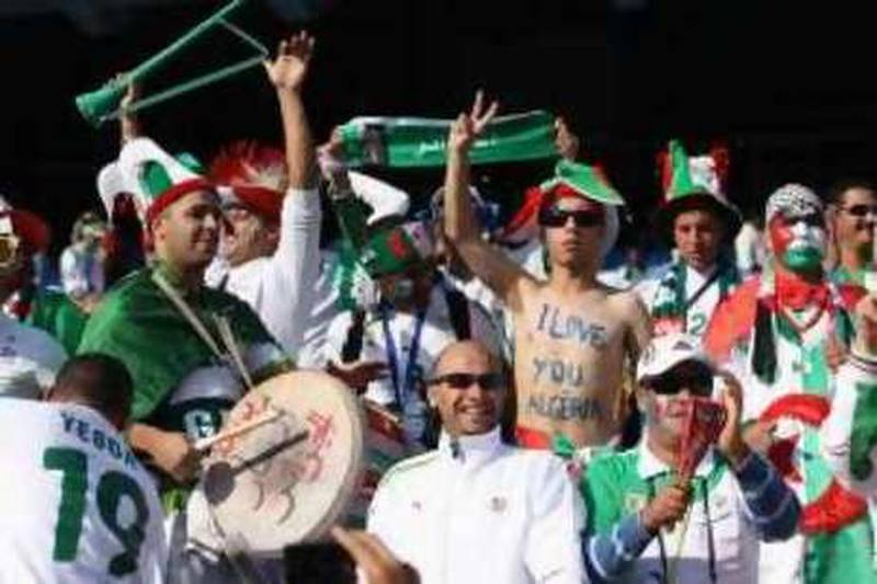 PRETORIA, SOUTH AFRICA - JUNE 23:  Algeria fans enjoy the atmosphere ahead of the 2010 FIFA World Cup South Africa Group C match between USA and Algeria at the Loftus Versfeld Stadium on June 23, 2010 in Tshwane/Pretoria, South Africa.  (Photo by Ian Walton/Getty Images)