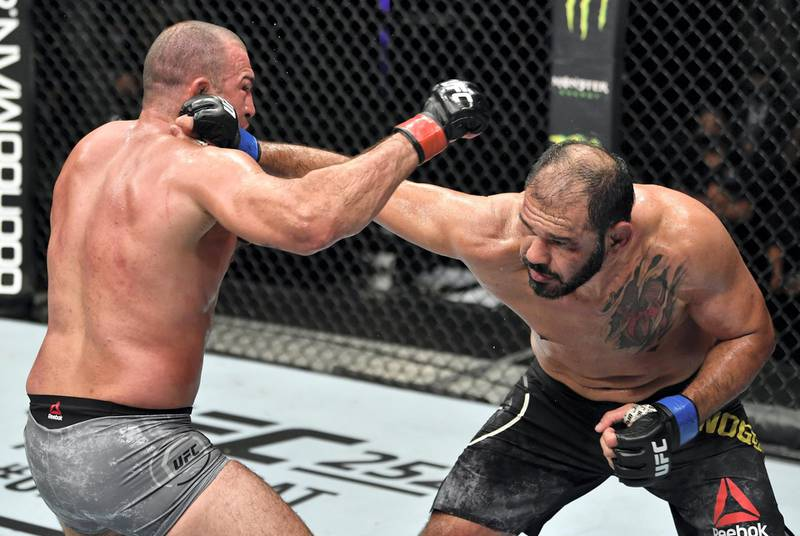 ABU DHABI, UNITED ARAB EMIRATES - JULY 26: (R-L) Antonio Rogerio Nogueira of Brazil punches Mauricio 'Shogun' Rua of Brazil in their light heavyweight fight during the UFC Fight Night event inside Flash Forum on UFC Fight Island on July 26, 2020 in Yas Island, Abu Dhabi, United Arab Emirates. (Photo by Jeff Bottari/Zuffa LLC via Getty Images) *** Local Caption *** ABU DHABI, UNITED ARAB EMIRATES - JULY 26: (R-L) Antonio Rogerio Nogueira of Brazil punches Mauricio 'Shogun' Rua of Brazil in their light heavyweight fight during the UFC Fight Night event inside Flash Forum on UFC Fight Island on July 26, 2020 in Yas Island, Abu Dhabi, United Arab Emirates. (Photo by Jeff Bottari/Zuffa LLC via Getty Images)