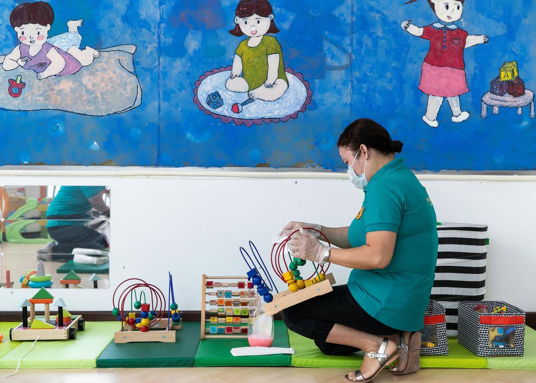 DUBAI, UNITED ARAB EMIRATES.12  OCTOBER 2020. British Orchard Nursery staff sanitize the toys regularly. (Photo: Reem Mohammed/The National)Reporter:Section: