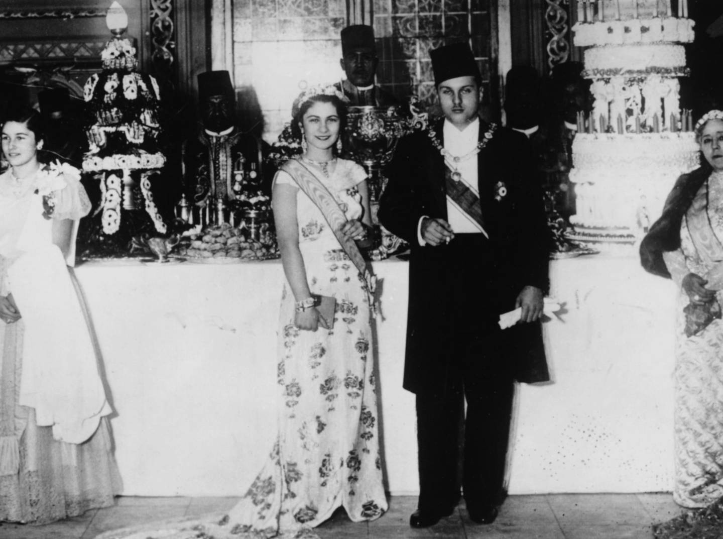 King Farouk and Queen Farida of Egypt at an event, circa 1940. (Photo by Keystone/Hulton Archive/Getty Images)