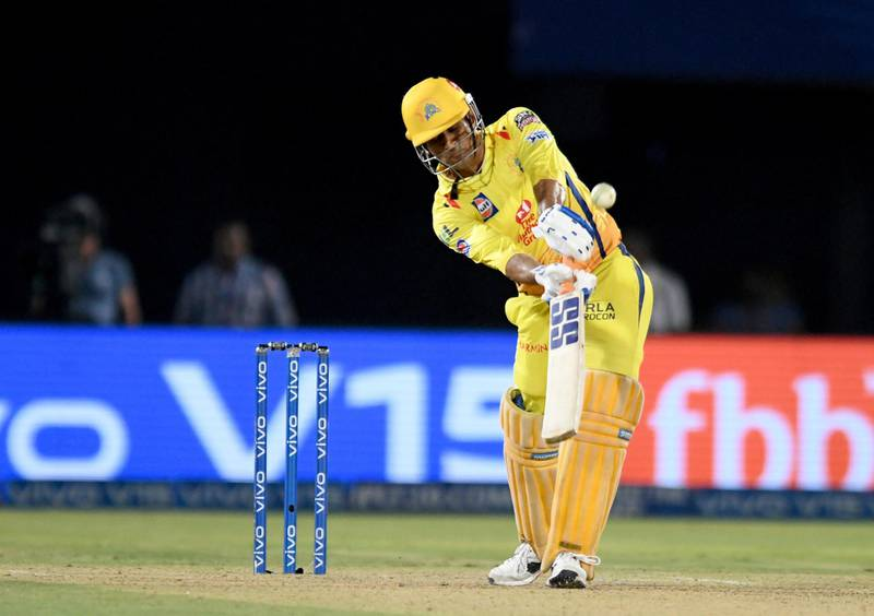Chennai Super Kings cricket captain Mahendra Singh Dhoni plays a shot during the 2019 Indian Premier League (IPL) second qualifier Twenty20 cricket match between Delhi Capitals and Chennai Super Kings at the Dr. Y.S. Rajasekhara Reddy ACA-VDCA Cricket Stadium in Visakhapatnam on May 10, 2019. (Photo by NOAH SEELAM / AFP) / ----IMAGE RESTRICTED TO EDITORIAL USE - STRICTLY NO COMMERCIAL USE-----