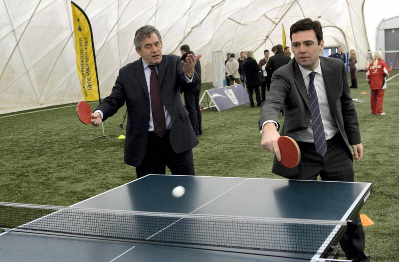 CHIGWELL, UNITED KINGDOM - JANUARY 16:  Prime Minister Gordon Brown plays with Sports minister Andy Burnham during a visit to Tottenham Hotspur's training ground on January 16, 2009 in Chigwell, London. (Photo by Arthur Edwards/WPA Pool/Getty Images)