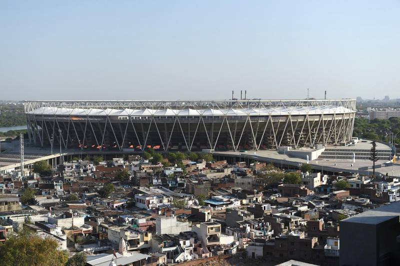 This photograph taken on April 3, 2020 shows a general view of the Sardar Patel Stadium, the world's biggest cricket stadium, during a government-imposed nationwide lockdown as a preventive measure against the COVID-19 coronavirus, in Motera on the outskirts of Ahmedabad. - There is no larger symbol of the global sports shutdown than cricket's 110,000-seater Sardar Patel Stadium in Ahmedabad, opened by US President Donald Trump in February 2020, but yet to see a ball bowled. India's newest -- and the world's biggest -- cricket stadium lies silent because of the COVID-19 coronavirus pandemic. (Photo by SAM PANTHAKY / AFP) / TO GO WITH AFP STORY Cricket-IND-stadium-virus-health by Faisal KAMAL