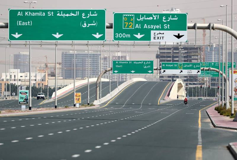 Dubai, United Arab Emirates - Reporter: N/A: A very quiet Al Khamila Street as Dubai goes into lockdown for 2 weeks due to the corona virus. Wednesday, April 8th, 2020. Dubai. Chris Whiteoak / The National