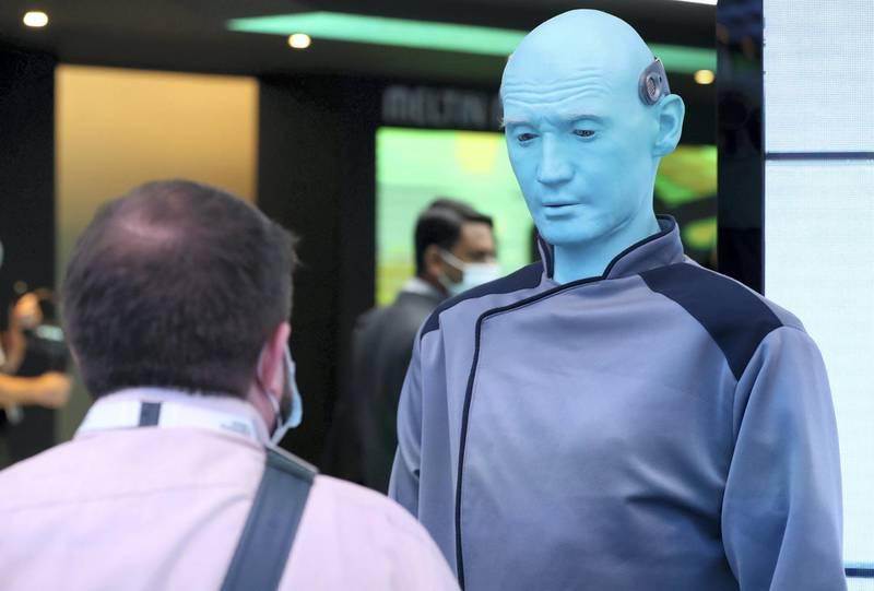 Dubai, United Arab Emirates - December 06, 2020: Adran, a blue humanoid developed using advanced software, sensors, artificial skin and animatronics at GITEX 2020 at the World Trade Centre. December 6th, 2020 in Dubai. Chris Whiteoak / The National