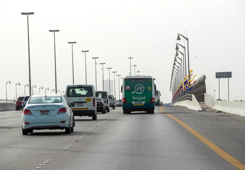 Abu Dhabi, United Arab Emirates, July 25, 2019. Salik toll gates-AUH.--   Musaffah Bridge.Victor Besa/The NationalSection:  NAReporter: