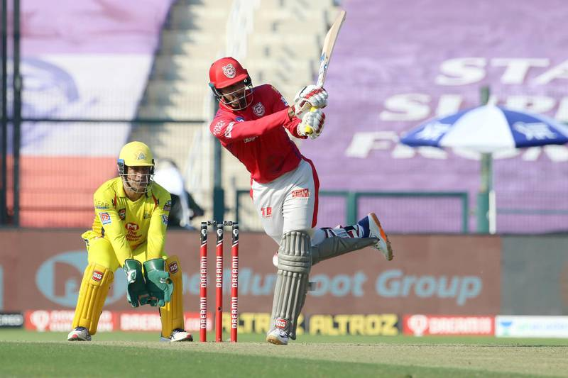 Deepak Hooda of Kings XI Punjab plays a shot during match 53 of season 13 of the Dream 11 Indian Premier League (IPL) between the Chennai Super Kings and the Kings XI Punjab at the Sheikh Zayed Stadium, Abu Dhabi  in the United Arab Emirates on the 1st November 2020.  Photo by: Vipin Pawar  / Sportzpics for BCCI
