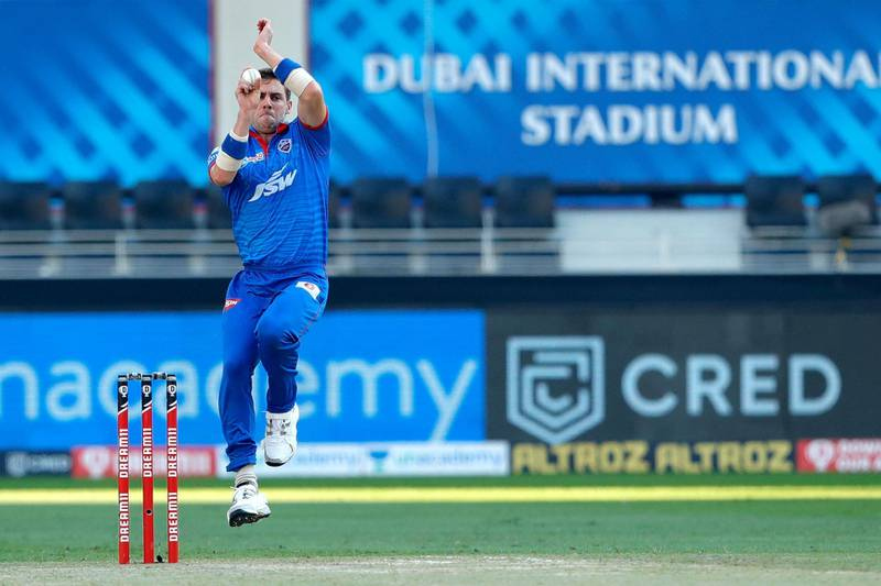 Anrich Nortje of Delhi Capitals bowling during match 51 of season 13 of the Dream 11 Indian Premier League (IPL) between the Delhi Capitals and the Mumbai Indians held at the Dubai International Cricket Stadium, Dubai in the United Arab Emirates on the 31st October 2020.  Photo by: Saikat Das  / Sportzpics for BCCI
