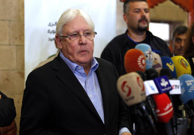 epa06639061 UN Special Envoy to Yemen Martin Griffith gives a news conference prior to his departure at the Sana'a International Airport, in Sana'a, Yemen, 31 March 2018. According to reports, UN special envoy Martin Griffiths left Sana'a after a week-long visit, in diplomatic efforts to end a three-year escalating conflict between the Saudi-led coalition-backed Yemen's government and Houthi militias.  EPA/YAHYA ARHAB