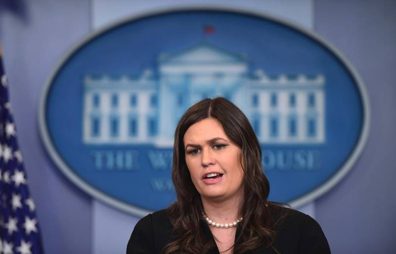 White House press secretary Sarah Huckabee Sanders speaks during the daily briefing at the White House in Washington, Monday, March 12, 2018. Sanders answered questions on North Korea, school safety and other topics. (AP Photo/Susan Walsh)