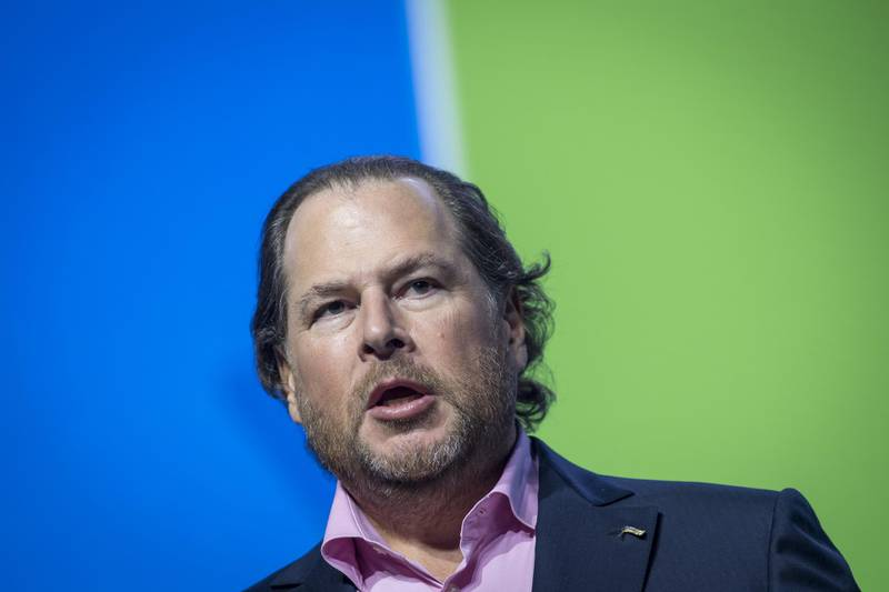 Marc Benioff, chairman and co-chief executive officer of Salesforce.com Inc., speaks during the Global Climate Action Summit in San Francisco, California, U.S., on Thursday, Sept. 13, 2018. The event brings together industry and political leaders working on improving the conditions and concerns facing climate in the world today. Photographer: David Paul Morris/Bloomberg