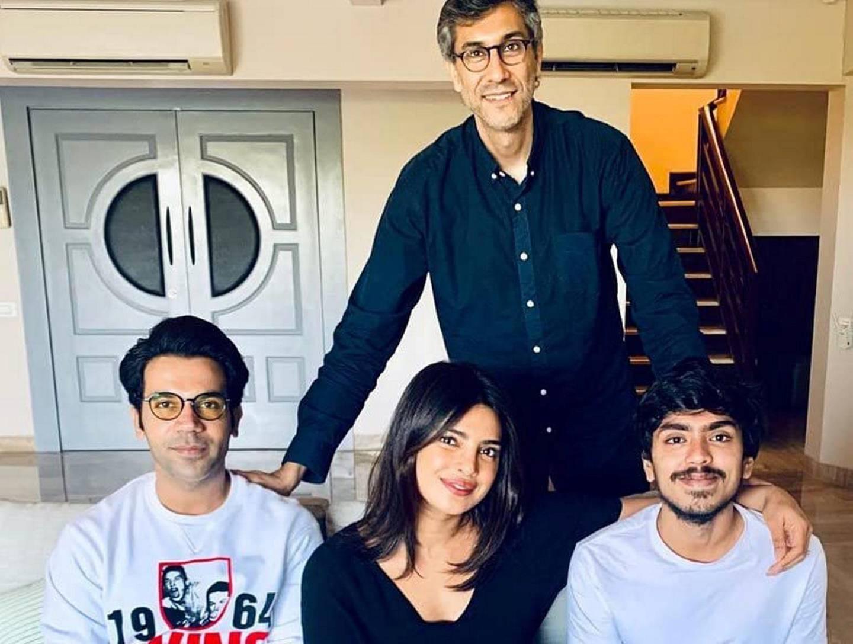 Ramin Bahrani, Priyanka Chopra, Rajkummar Rao, and Adarsh Gourav at an event for The White Tiger (2021) IMDb