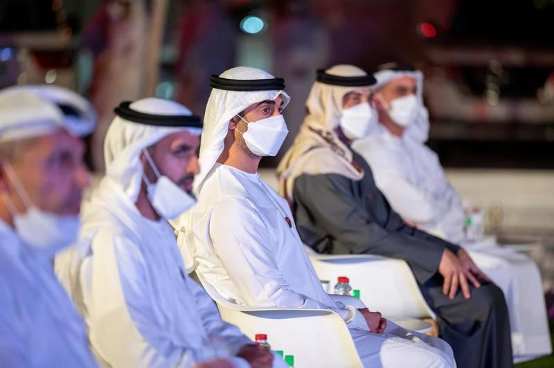 DUBAI, UNITED ARAB EMIRATES - February 09, 2021: HH Sheikh Hamdan bin Mohamed bin Zayed Al Nahyan (C), witnesses the arrival of the Hope Probe in the orbit of Mars, at Mohammed Bin Rashid Space Centre.  ( Rashid Al Mansoori / Ministry of Presidential Affairs ) ---