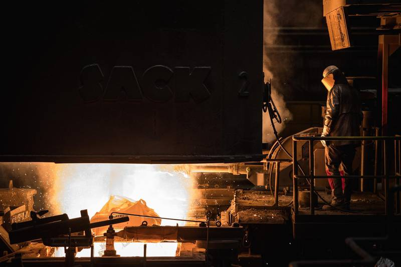 FILE Donald Trump Plans To Impose Tariffs on U.S. Imports of Steel and Aluminum DUISBURG, GERMANY - JANUARY 17: A worker oversees molten iron undergoing purification and alloying to become steel at the ThyssenKrupp steelworks on January 17, 2018 in Duisburg, Germany. ThyssenKrupp CEO Heinrich Hiesinger is seeking to merge the company's steel making unit with Tata Steel of India. The German economy grew 2.2 percent in 2017, its biggest growth rate since 2011. Economists see a strong outlook for 2018. (Photo by Lukas Schulze/Getty Images)