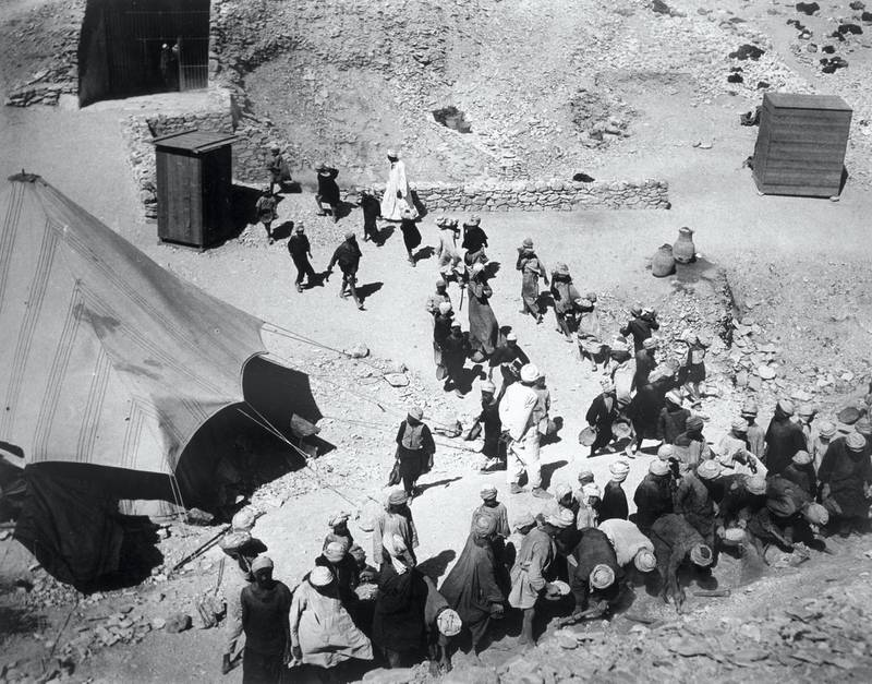 Closing the Tomb of Tutankhamun, Valley of the Kings, Egypt, February 1923, The discovery of Tutankhamun's tomb in 1922 by British archaeologist Howard Carter (1874-1939) was one of the most astounding discoveries in archaeology. Tutankhamun was a previously unknown pharaoh whose name had been eradicated from historical records by one of his successors because of his association with the heretical pharaoh Akhenaten, who was Tutankhamun's father-in-law. Consequently his tomb, uniquely, had remained undisturbed by grave robbers. Artist Harry Burton. (Photo by Historica Graphica Collection/Heritage Images/Getty Images)