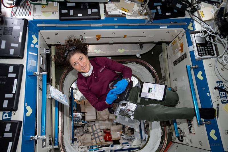 iss060e043912 (Aug. 23, 2019) --- Expedition 60 Flight Engineer Christina Koch of NASA conducts maintenance activities aboard the International Space Station. Courtesy NASA