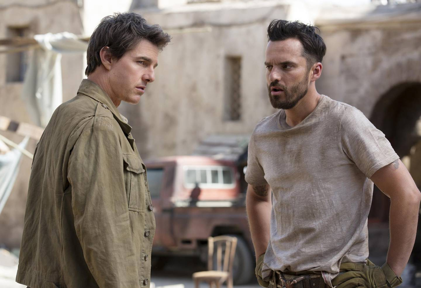 Tom Cruise and Jake Johnson in The Mummy. Courtesy Universal Pictures