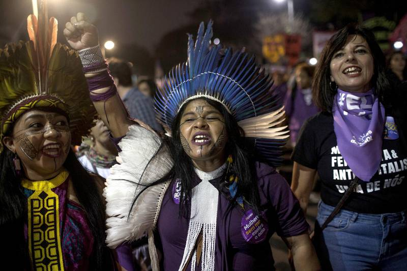 SAO PAULO, BRAZIL - SEPTEMBER 29: Sonia Guajajara, an indigenous candidate for vice president by the PSOL party, participates in a protest against the far-rights presidential candidate on September 29, 2018 in Sao Paulo, Brazil. The protests occurred simultaneously in several Brazilian cities, against Jair Bolsonaro, the far rights presidential candidate. Protests included an internet campaign (#elenão and #himnot) which was joined by many women from various countries. Corinthians fans, Brazil's biggest soccer team, and other social groups also joined. (Photo by Victor Moriyama/Getty Images)
