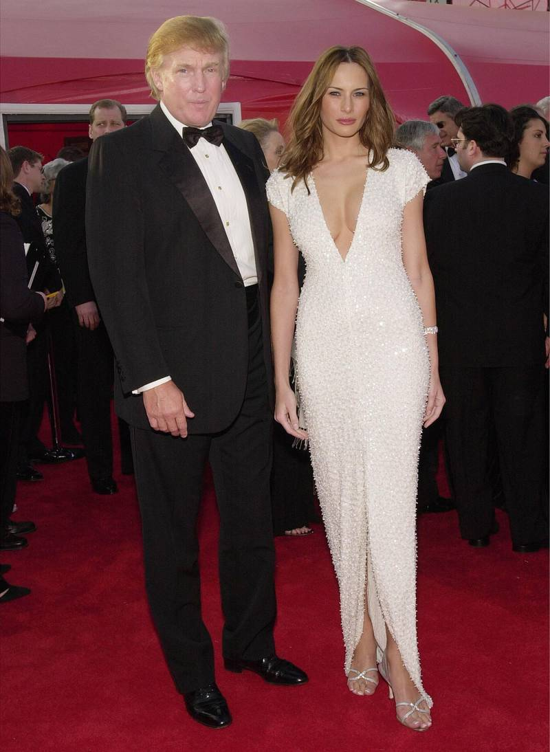 386900 83: Donald Trump and his girlfriend, model Melania Knauss arrive for the 73rd Annual Academy Awards March 25, 2001 at the Shrine Auditorium in Los Angeles. (Photo by Chris Weeks/Getty Images)
