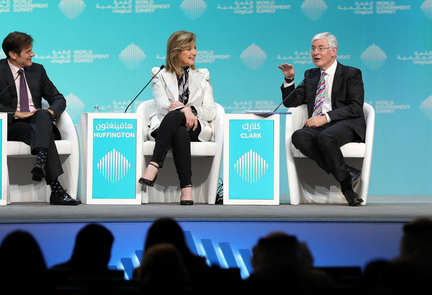 Dubai, United Arab Emirates - February 10, 2019: L-R Dr Oz, The Dr Oz show, Arianna Huffington, Founder, Thrive Global and David Clark Chair of Experimental Psychology, speak about mental health during day 1 at the World Government Summit. Sunday the 10th of February 2019 at Madinat, Dubai. Chris Whiteoak / The National