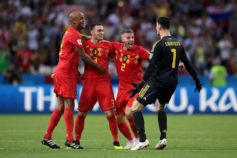 KAZAN, RUSSIA - JULY 06:  Vincent Kompany, Thomas Vermaelen, Toby Alderweireld and Thibaut Courtois of Belgium  celebrate their victory following the 2018 FIFA World Cup Russia Quarter Final match between Brazil and Belgium at Kazan Arena on July 6, 2018 in Kazan, Russia.  (Photo by Laurence Griffiths/Getty Images)