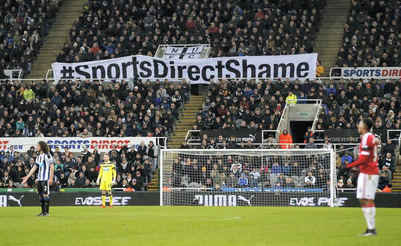 """Football Soccer - Newcastle United v Manchester United - Barclays Premier League - St James' Park - 12/1/16 Newcastle fans protest against Sports Direct and Newcastle owner Mike Ashley Reuters / Andrew Yates Livepic EDITORIAL USE ONLY. No use with unauthorized audio, video, data, fixture lists, club/league logos or """"live"""" services. Online in-match use limited to 45 images, no video emulation. No use in betting, games or single club/league/player publications.  Please contact your account representative for further details. - 14244717"""