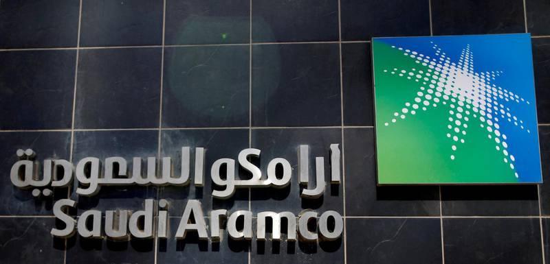 FILE PHOTO: The logo of Saudi Aramco is seen at Aramco headquarters in Dhahran, Saudi Arabia May 23, 2018. REUTERS/Ahmed Jadallah/File Photo