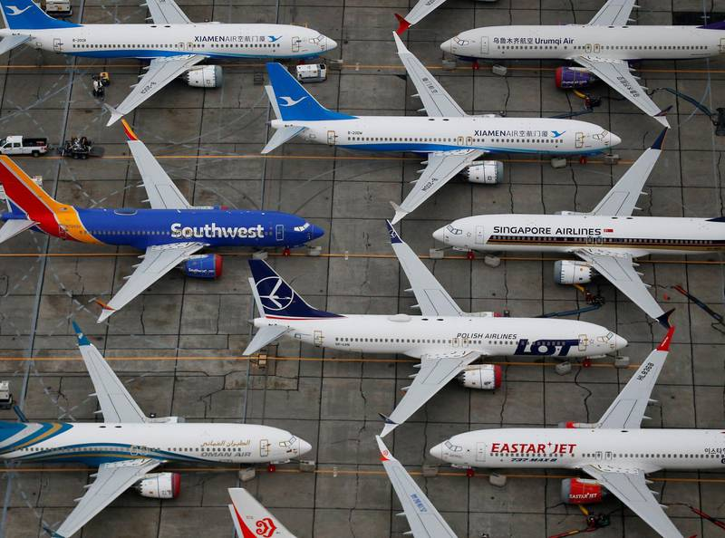 Grounded Boeing 737 MAX aircraft are seen parked at Boeing facilities at Grant County International Airport in Moses Lake, Washington, U.S. November 17, 2020.  REUTERS/Lindsey Wasson     TPX IMAGES OF THE DAY