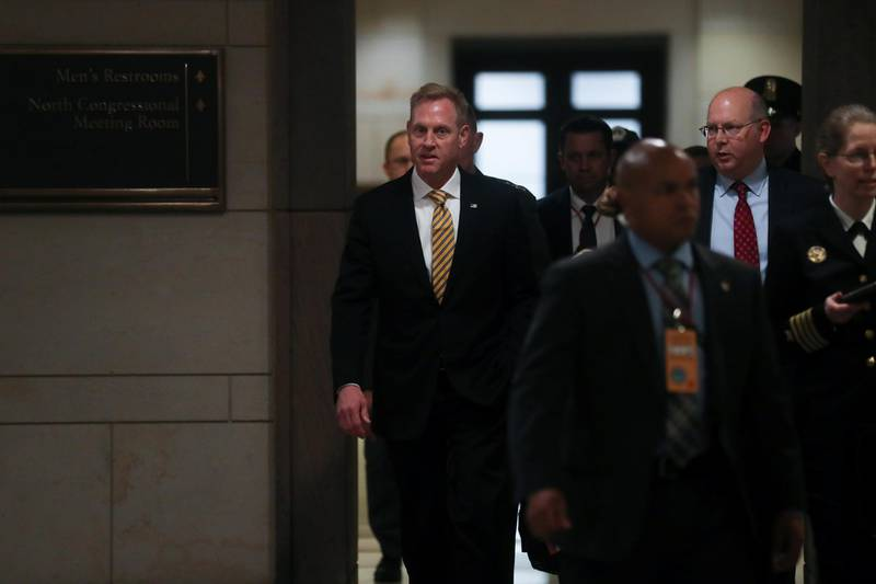 U.S. Acting Defense Secretary Patrick Shanahan arrives to hold a classified briefing on Iran, with Secretary of State Mike Pompeo and Chairman of the Joint Chiefs U.S. Marine Corps General Joseph Dunford, for members of the House of Representatives on Capitol Hill in Washington, U.S., May 21, 2019.  REUTERS/Jonathan Ernst