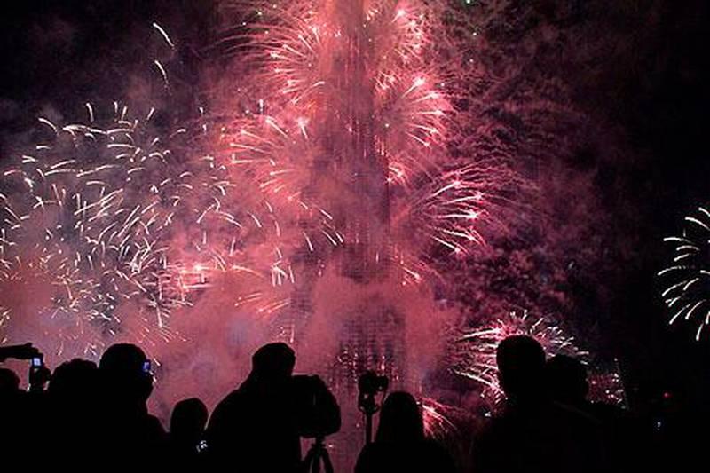 Dubai, United Arab Emirates - January 1, 2013.  New Years Day fireworks at Burj Khalifa.  ( Jeffrey E Biteng / The National )