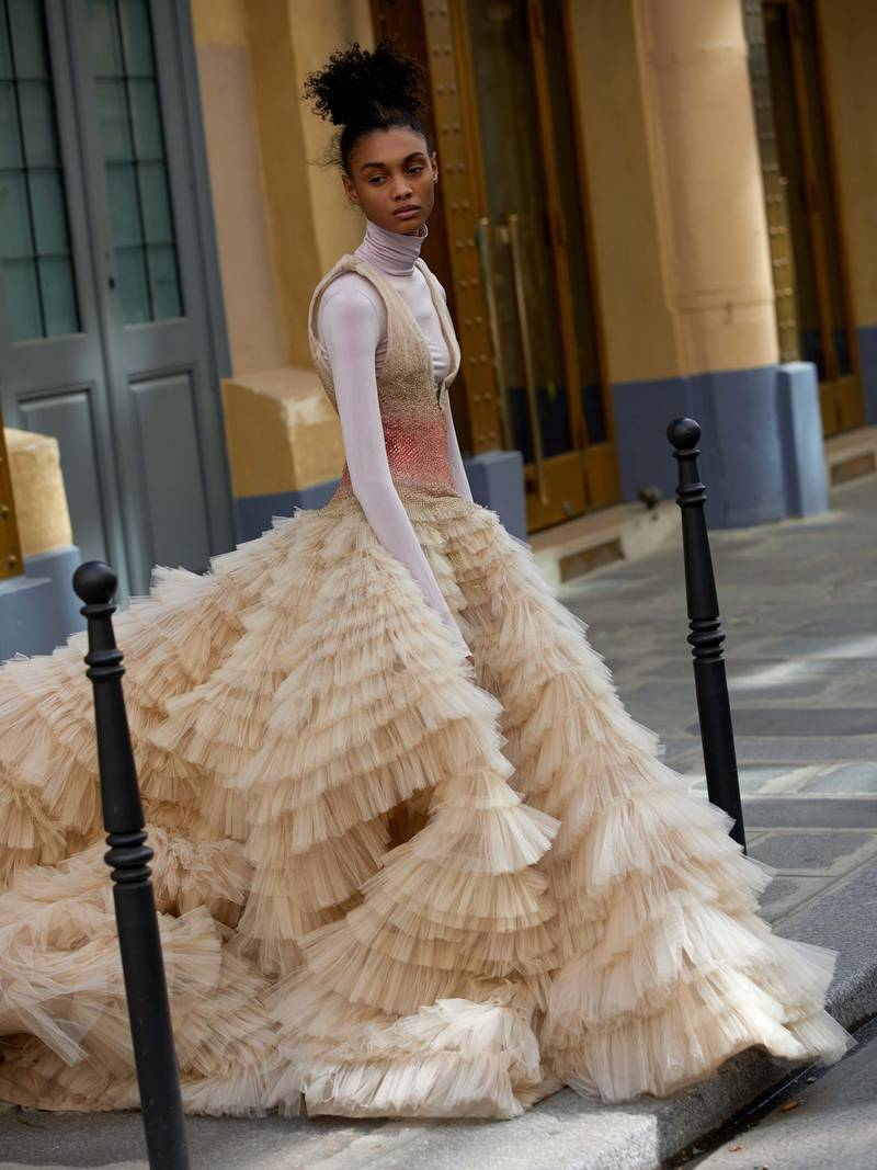 through the lens: Photography   Chantelle Dosser fashion director   Sarah Maiseymultilayer silk tulle dress with crystallised bodice, Rami Al Ali Haute Couture. Top (worn underneath), stylist's own