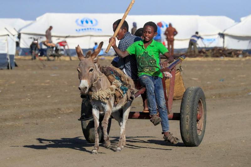 Ethiopian refugees, who fled the Tigray conflict, sit on the back of a carriage upon their arrival at the Tenedba camp in Mafaza, eastern Sudan on January 8, 2021, after being transported from the reception center. (Photo by ASHRAF SHAZLY / AFP)