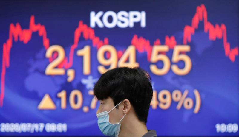A currency trader wearing a face mask walks by the screen showing the Korea Composite Stock Price Index (KOSPI) at the foreign exchange dealing room in Seoul, South Korea, Friday, July 17, 2020. Asian stock markets rebounded Friday after Wall Street closed lower amid uncertainty about the U.S. economic outlook. (AP Photo/Lee Jin-man)