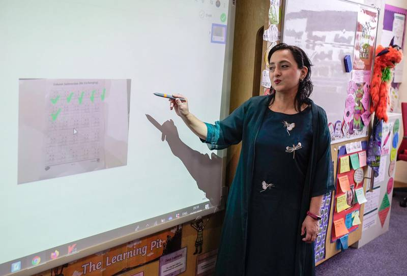 Abu Dhabi, United Arab Emirates, March 19, 2020.     Private schools in UAE gear up for for remote learning and challengest hey will face.Teacher, Taira Astab during an online lecture at the Al Yasmina Academy.Victor Besa / The NationalReporter:   Anam RizviSection:  NA