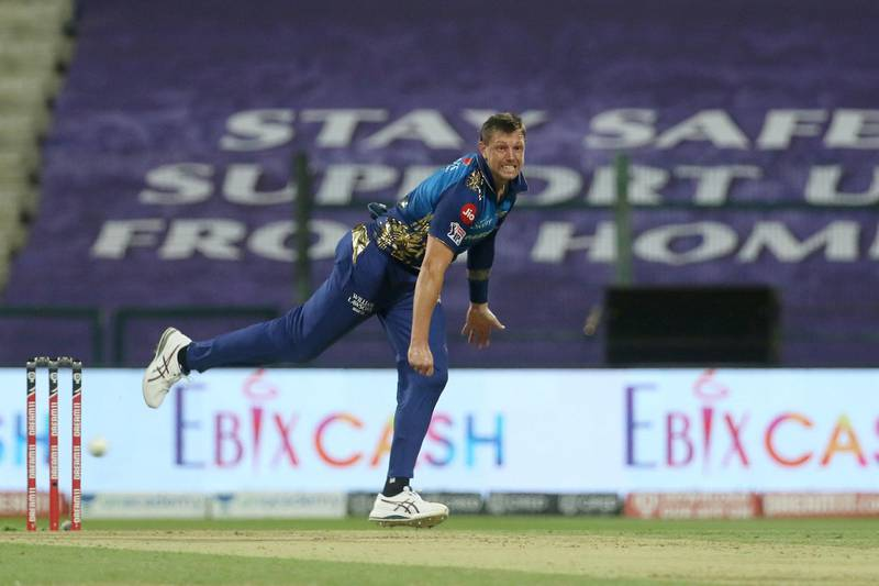 James Pattinson of Mumbai Indians bowls during match 13 of season 13 of the Indian Premier League (IPL) between the Kings XI Punjab and the Mumbai Indians at the Sheikh Zayed Stadium, Abu Dhabi  in the United Arab Emirates on the 1st October 2020.  Photo by: Vipin Pawar  / Sportzpics for BCCI