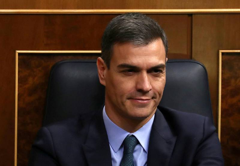 FILE PHOTO: Spain's Prime Minister Pedro Sanchez reacts during a session at Parliament in Madrid, Spain, February 13, 2019. REUTERS/Sergio Perez/File Photo